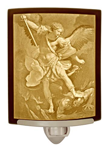 St. Michael the Archangel Curved Porcelain Lithophane Night Light