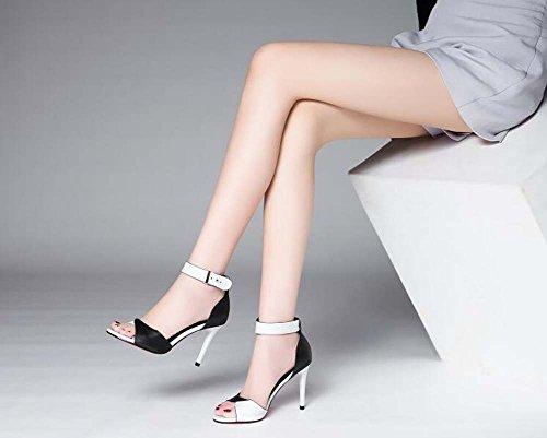alto Zapatos coreano paquete solo salvaje de tacón un Sandalias hebilla verano con con Zapatos cuero SHINIK una Nuevo Blanco de de mujer 0q40PRd