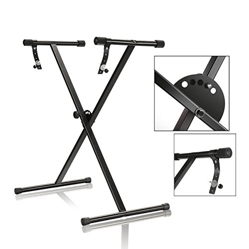 PARTYSAVING Pro Series Portable Single-X Keyboard Stand with Locking Straps APL1157, One-Tier