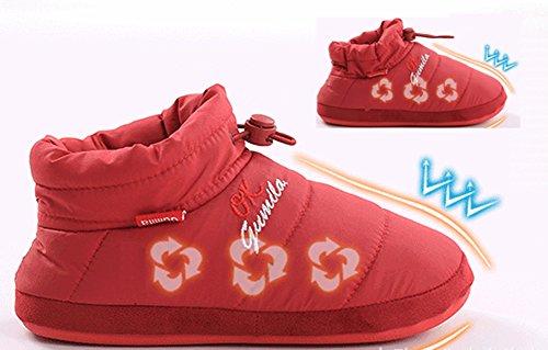 Unisex Hausschuhe Happy Lily Warm Schuhe Pantoletten mit Memory Foam Anti Skip Gummi Außensohle Elastic Kordelzug für Erwachsene violett