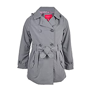 London Fog Big Girls' Hooded Raincoat - Gray, 14-16