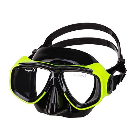 (IST Prescription Mask- Optical Corrective Scuba Diving Snorkeling Mask - Rx Prescription- Bk, Yellow, Blue, Bk Silicon (Black Silicone/Yellow, No Correction))