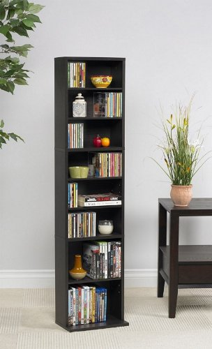 Tall Media Storage Tower with Adjustable Shelves in Espresso Finish
