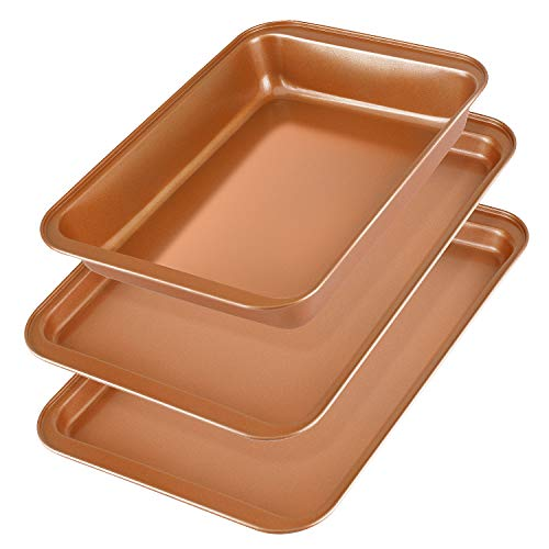 Baking Sheet Pans Cookie Sheet, KeShi Nonstick Cookie Trays, Baking Pan Professional for Oven, Prime Bakeware Set 3, Rust Free and Good Clean, Christmas Gift for Baking (Bronze) (Goods Christmas Baking For)