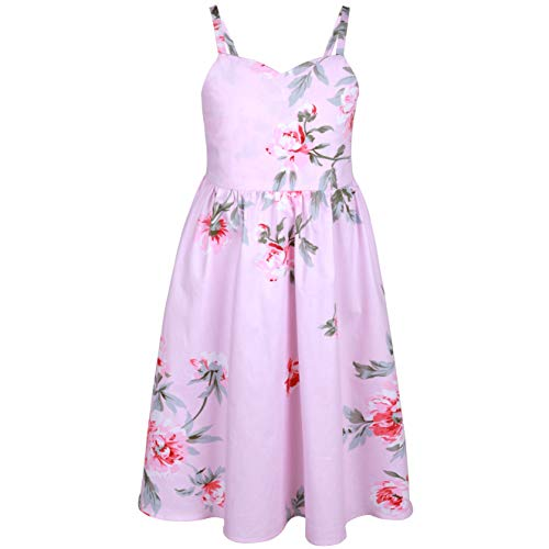 (Flofallzique Pink Tea Party Dress for Girls Floral Vintage Cotton Beach Sundress Toddler Clothes for 1-12 Y (6 Years Old, Light)