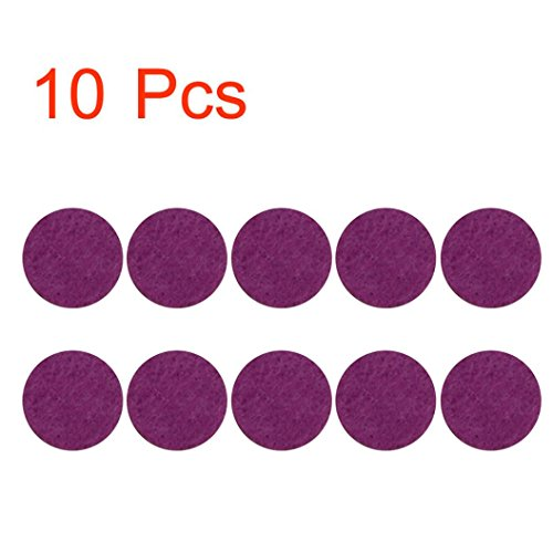 Iuhan 10Pcs Aromatherapy Essential Oil Diffuser Locket Necklace Refill Pads Car Perfume Supplemental Pad Essential Oil Diffuser Cotton Decorate Jewelry Mat (Purple)