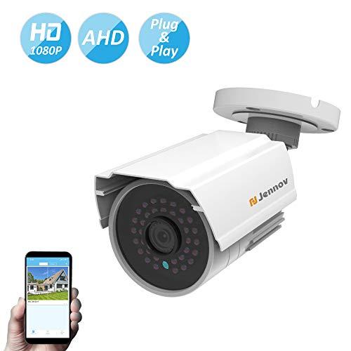 Jennov Security Camera Outdoor CCTV Analog Home Surveillance Camera 1200TVL Surveillance Bullet Camera Weatherproof Housing 24PCS LEDs,68ft IR Night Vision Work with DVR System
