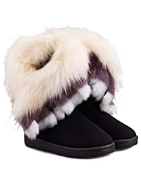 Donalworld Womens Warm Suede Ankle Boots Fur Tassel Flat Shoes