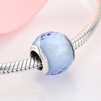 DFGSDFB Cuentas de Cristal de Murano Azul Claro de Plata esterlina 925 con encantos Originales Pulsera Joyas