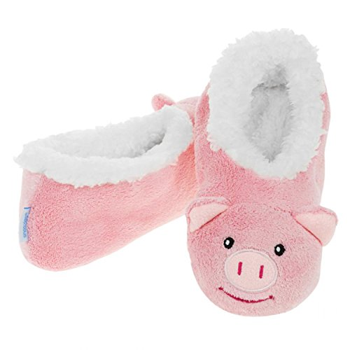 1629c2d47ede Pink Pig Snoozies - Adult Animal Sock Slippers with Safe Non-skid Sole. Size