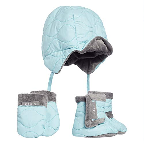 (JJ Cole - Bomber Hat Set, Winter Boots, Mittens, and Hat to Keep Baby Warm and Comfortable, Aqua, 0 to 6 Months)