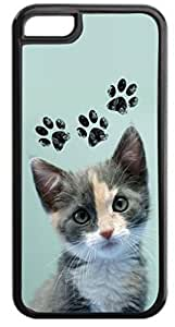 Kitten and Pawprints- Case for the APPLE IPHONE 6 4.7'' ONLY-Hard Black Plastic Outer Case with Tough Black Rubber Lining