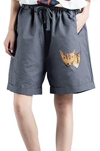 Cotone Pantaloni Simgahuva Bermuda Ginocchio Fino Animale Donna Elastico Rilassata Short Gray Al vvqHrEg