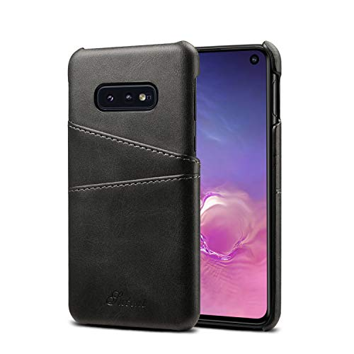 Galaxy S10e Case Samsung Cover,Leather Slim Fit Protective Black Two Credit Card Holder Men Boy Ultra Thin Phone Shell for S10E 2019 5.8inches
