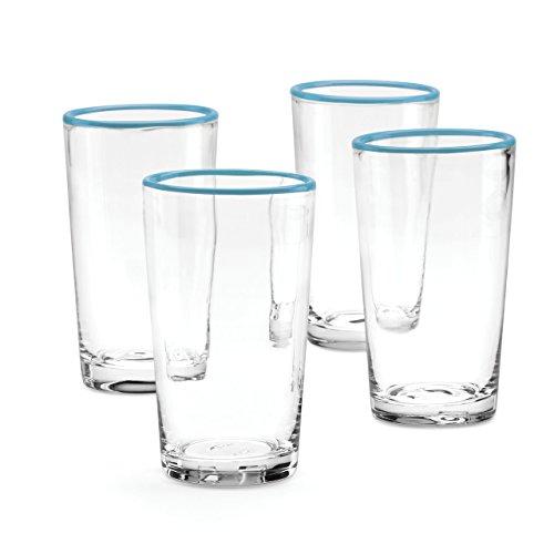 Dansk Dansk The Burbs Set of 4 Blue Rim Highball Glasses, Blue