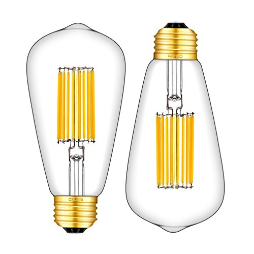CRLight 14W LED Edison Bulb 120W Equivalent 3000K Soft White 1200LM, E26 Medium Base Antique ST64 Clear Glass Lengthened Filament High Brightness LED Light Bulbs, Non-dimmable, 2 Pack