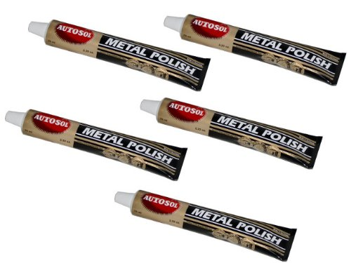 5  x Chrome Polish Metal Chrome Polish Chrome Shiny Autosol 75ml each 375ml NEW