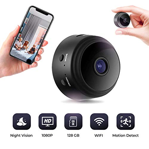 WiFi Surveillance Camera - Mini Hidden Spy Nanny Cam - Copcam for Indoor Home Security - Portable and Tiny with Micro USB Charging - Motion ()
