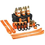 8 Pc Heavy Duty Motorcycle Tie Down Kit - Set Has 4 Padded 3,300 Lb Ratchet Straps, 4 Soft Loop Tiedowns, Storage Bag - For Powersports Towing - Trailer Motorcycles, Bikes -Trikes - ATV - UTV -Truck