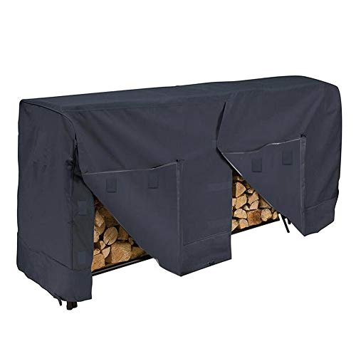 (LIANGJUN Garden Outdoor Dust Cover Dustproof Firewood Log Rack Cover Waterproof Dust-Proof Rain and Snow, 2 Sizes (Color : Black+Silver, Size :)