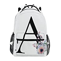 TropicalLife Letter A with Flower Backpacks Bookbag Shoulder Backpack Hiking Travel Daypack Casual Bags