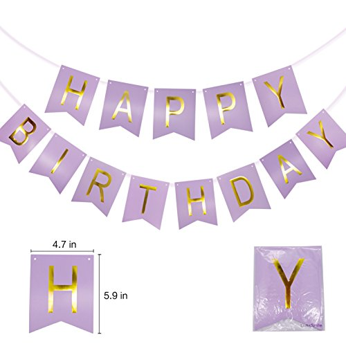 Purple Happy Birthday Banner for Unicorn Party for Kids Birthday Decorations, Baby Shower Decorations (1 Banner) -