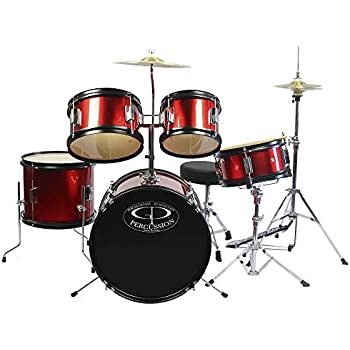 gp percussion gp55rd 5 piece junior drum set with cymbals and throne in red musical. Black Bedroom Furniture Sets. Home Design Ideas