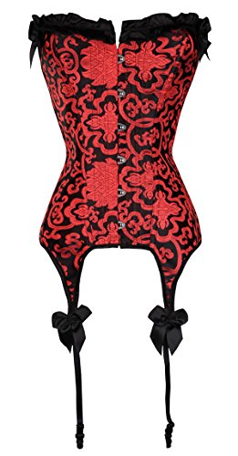 (Alivila.Y Fashion Womens Sexy Corset Bustier Boned Lingerie Garter Straps 938-Red-2XL)