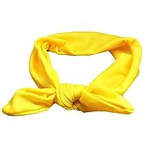 YAZILIND Cute Accessories Rabbit Ears Headband Elastic Hair Band Baby Girls Headband Knitted T/C Head Wrap Yellow