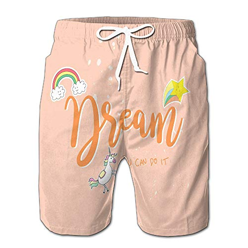 Unicorn Rainbow Dream You Can Do It Drawstring Shorts Beach Baskestball Pants M