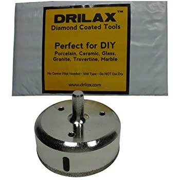 "Drilax 3-3/8"" Diamond Drill Bit Hole Saw Ceramic Porcelain Tile Glass Marble, Granite, Quartz Cutting Coated Circular Saw Tip Wet Drilling Core Grit 3 3/8 Inches in DIY Drilax010085"