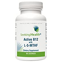 Active B12 with L-5-MTHF   800 mcg of Pure Non-racemic L-methylfolate   1,000 mcg of Methylcobalamin and Adenosylcobalamin Vitamin B12   60 Lozenges   Physician Formulated   Seeking Health by Seeking Health