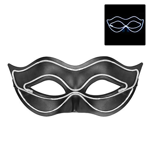 iChase Masquerade Mask ,EL Wire Glowing Halloween Cosplay LED Mask Light Up Cool Mask with 4 Modes for Party / Ball Prom / Mardi Gras / Wedding / Wall Decoration(White) ()
