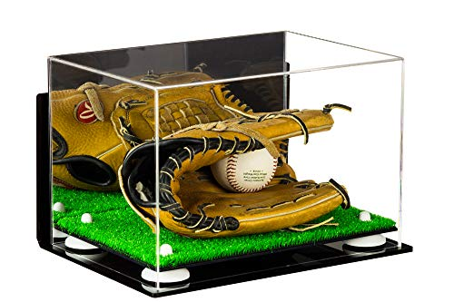 Acrylic Baseball Glove Display Case with Mirror, Wall Mount, White Risers and Turf Base (A004-WR)