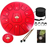 Ailla Steel Tongue Drum Handpan, C Key 11 Notes 12 Inch Hand Drum, Percussion Instrument Tankdrum with Mallets Bag Set for Meditation Yoga Sound Healing(Red)