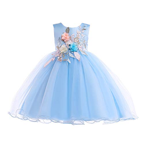 Girl Dresses Vestidos De Ninas para Fiestas Elegant Blue Princess Kids Wedding Dress 7t 8t -