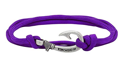 - Chasing Fin Adjustable Bracelet 550 Military Paracord with Fish Hook Pendant, Purple