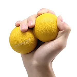 Peanut Massage Ball - Double Lacrosse Massage Ball, Mobility Ball for Physical Therapy - Deep Tissue Massage Tool for Myofascial Release, Muscle Relaxer, Acupoint Massager (Yellow)