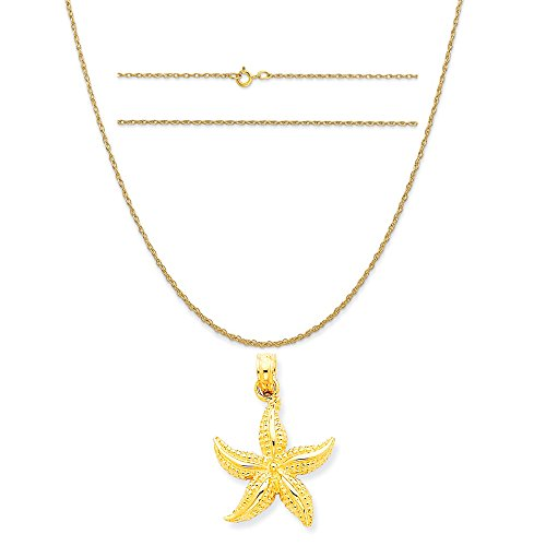 14k Yellow Gold Starfish Pendant on a 14K Yellow Gold Carded Rope Chain Necklace, 20