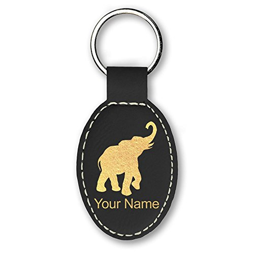 Oval Keychain, Indian Elephant, Personalized Engraving Included (Black)