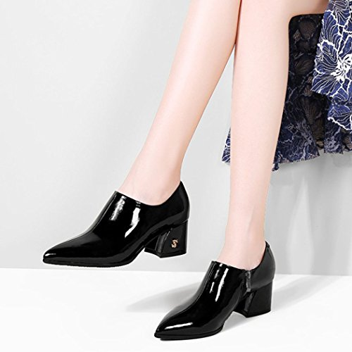 de Moda Negro Tacón Casuales Salvaje Otoño Zapatos Altos GAOLIXIA de Zapatos Mujer Trabajo de Primavera Acentuado de Mujer Botas Zapatos Alto de Tacones Chunky Pgq6wvZq
