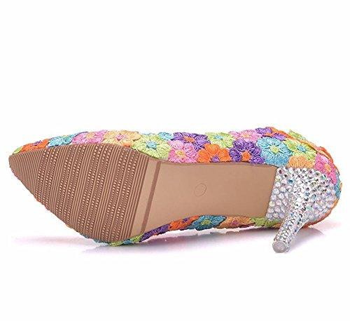 Zapatillas Corte Nvxie Del Eur Alto Color Pasadizo Cerrado Señoras Tacón 41 Zapatos Boda Pie 40 Tamaño uk Nupcial Mujer Dedo Flor 7 Noche 35 eur38uk55 rxAqP6zrw