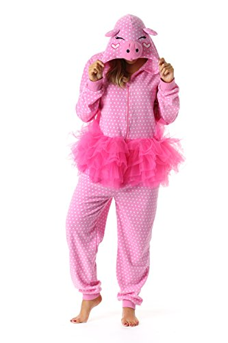 Just Love 6352-S Adult Onesie Womens Pajamas,Pig in Tutu,Small