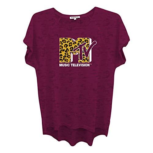 MTV Ladies Short Sleeve Shirt - #TBT Ladies 1980's Clothing - I Want My Logo Burnout Tee (Burgundy, X-Large)