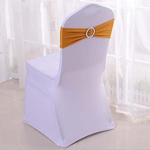 YRYIE Pack of 20 Spandex Chair Cover Stretch Sashes with Band Buckle Slider for Wedding Ceremony Decoration Gold
