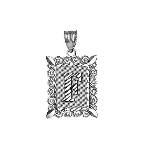 LA BLINGZ 14K White Gold Filigree Alphabet Initial Letter F DC Pendant (S/L) (Large)