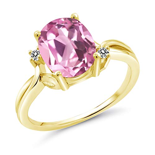 Gem Stone King 3.03 Ct Light Pink Created Sapphire White Diamond 18K Yellow Gold Plated Silver Ring (Size 9)
