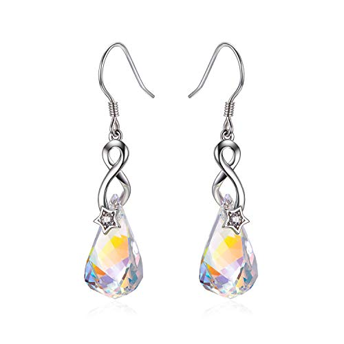 Sterling Silver Love Heart Dangle Drop Earrings with Swarovski Crystals Fine Jewelry Gift for Women Girls (Aurora Borealis Teardrop)
