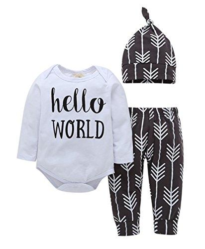 CozyWay 3Pcs Newborn Baby Bodysuits 0-24M Infant Long Sleeve