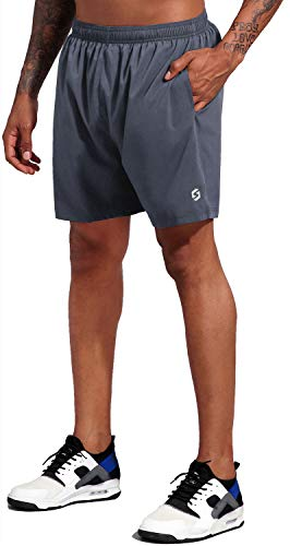 Men's 5 Inch Running Workout Shorts Quick Dry Lightweight Athletic Gym Shorts with Liner Zipper Pockets